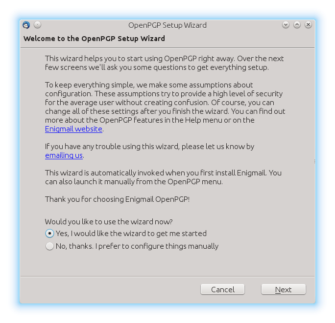Opening screen of Enigmail Setup Wizard