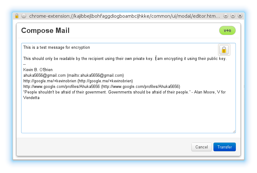 Composing an encrypted message in Gmail using Mailvelope