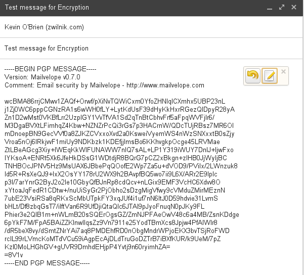 Encrypted message in Gmail using Mailvelope